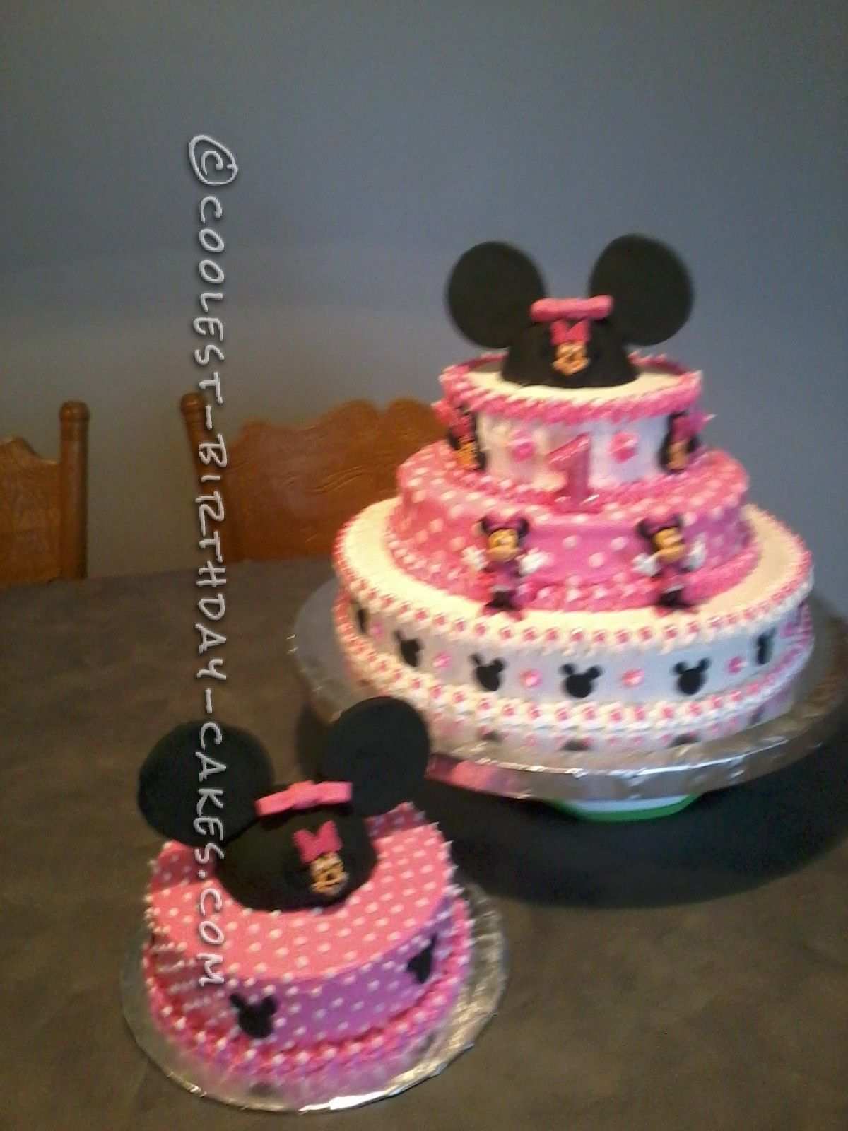 Coolest Minnie Mouse Cake for a 1st Birthday Mouse cake Minnie