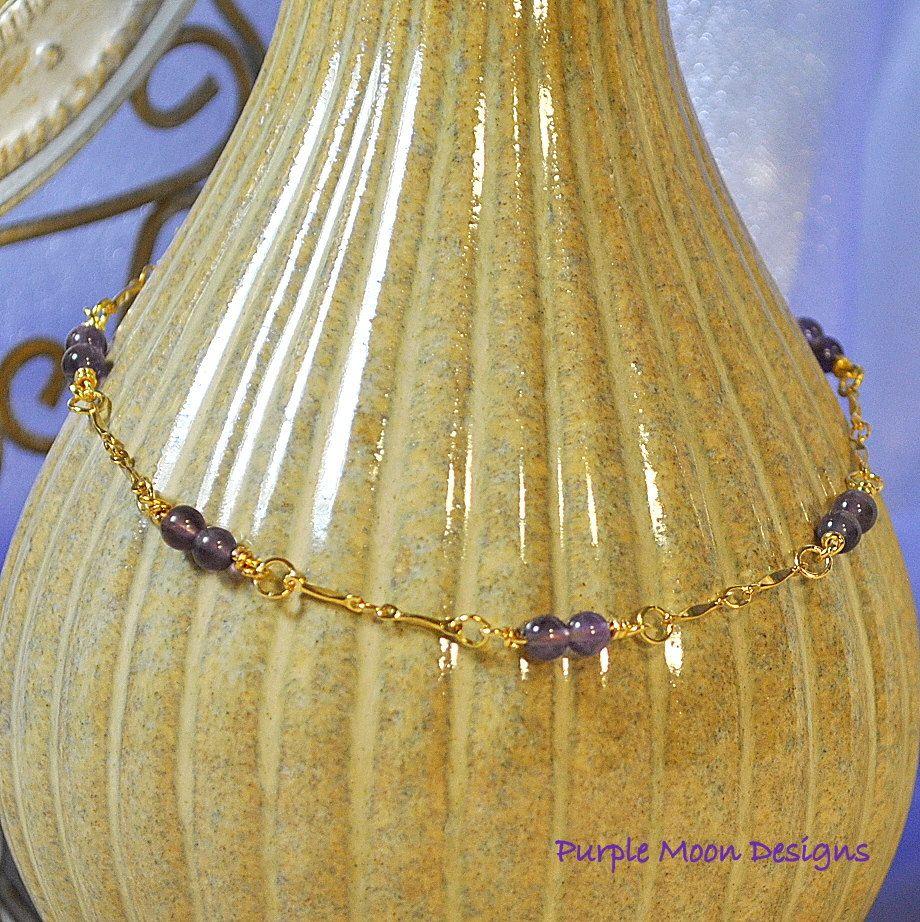 Amethyst and Gold Ankle Bracelet, 10 5/8 inch Anklet. $12.00, via Etsy.