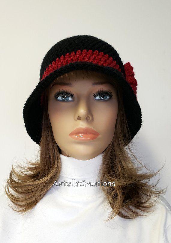 a7ff2e78462c8 Black Womens Custom Vintage Style 1920s Flapper Cloche Hat