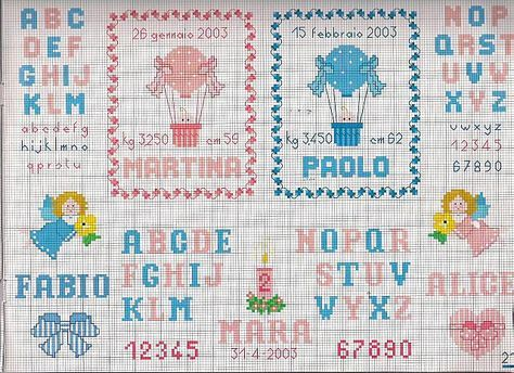 alfabeto per nascita bambini punto croce