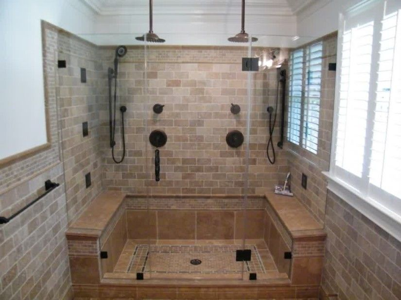 Large Walk In Shower With Glass Front And Dual Shower Heads Hand