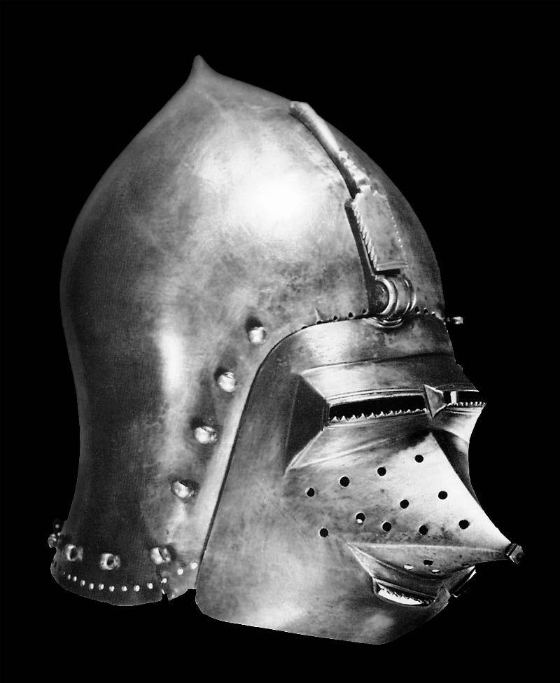 "Bacinete con ""Klapsivissier"" - Alemania - Siglo XIV"