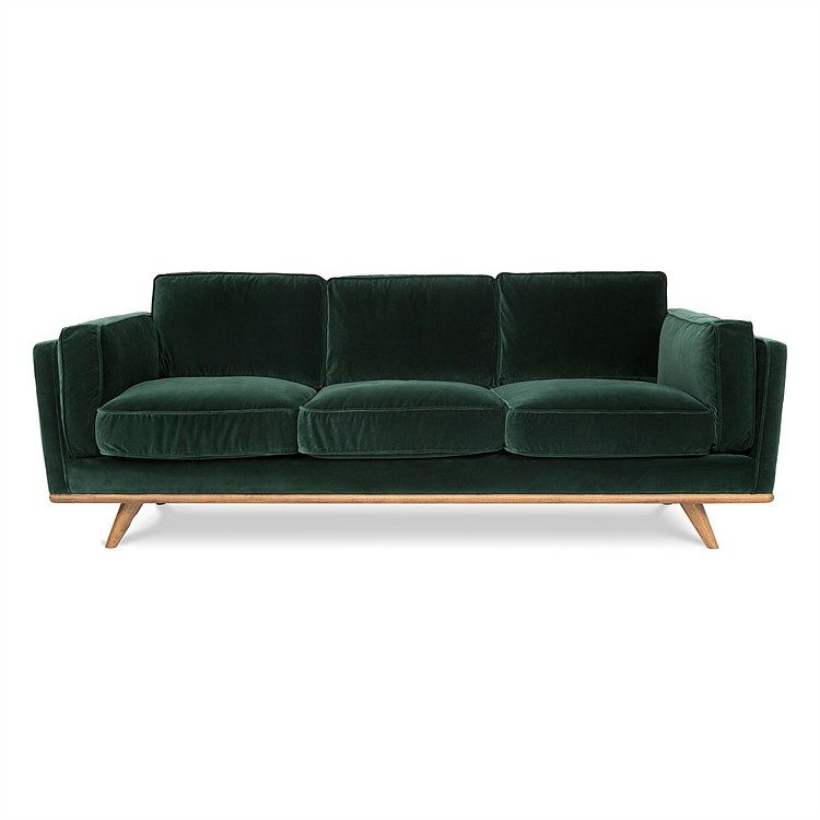 Dahlia Sofa 3s Cozy With Images Green Velvet Sofa