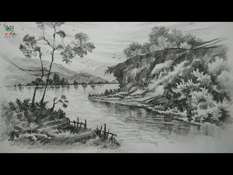 Basic Pencil Shading Big Rocks In A Landscape With Pencil Pencil Drawing Step By Step Yout Landscape Drawings Landscape Sketch Pencil Sketches Landscape