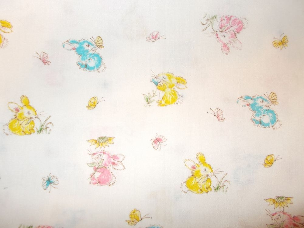 "Vintage ABC/'s BUNNY RABBIT Fabric Springtime with Butterflies 34""W X 44""L"
