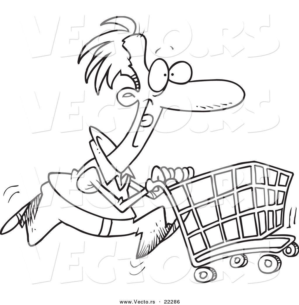 Vector Of A Cartoon Man Pushing A Shopping Cart