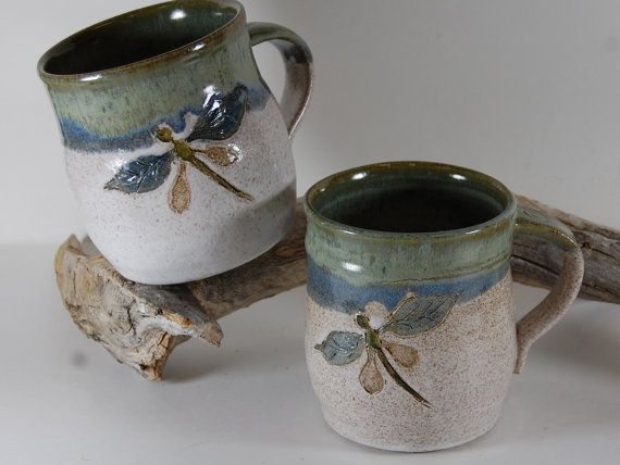 Pottery Dragon Fly Pottery Mug Hand Painted By