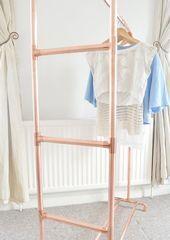 Kupfer Rohr Kleiderstange / Kleidungsstück Rack / Kleidung Aufbewahrung mit Lei…