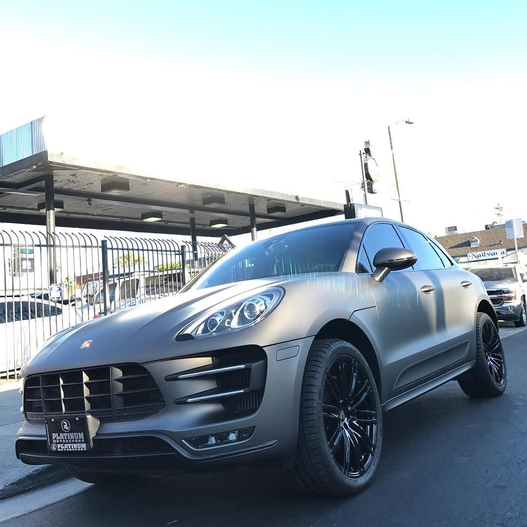 Porsche Macan Turbo Professionally Wrapped In Pml Pantone Matte Charcoal Metallic Complete With Our Platinum Trim Pack Porsche Macan Turbo Porsche Turbo