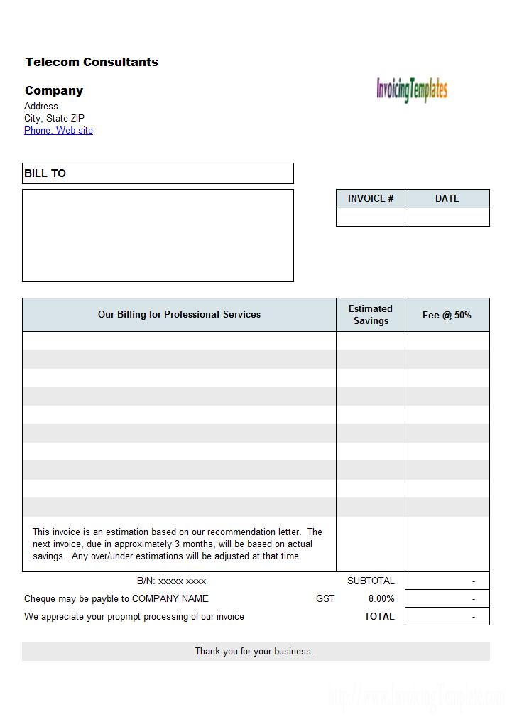 Telecom Consultant Estimate Form Invoice Template Word Invoice Template Estimate Template
