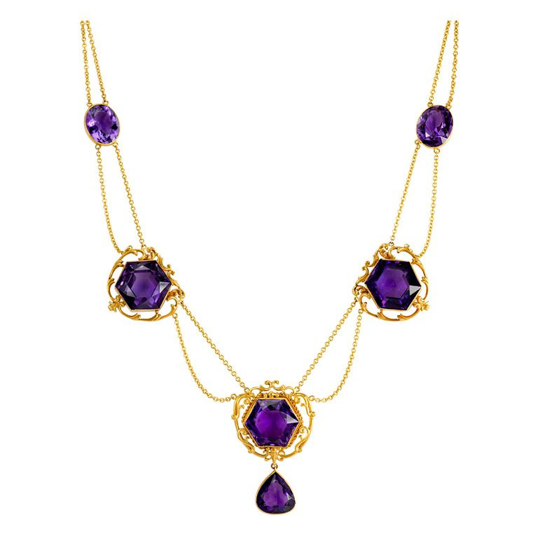 An art nouveau amethyst and gold necklace compose of three an art nouveau amethyst and gold necklace compose of three hexagonal cut amethysts with mozeypictures Choice Image