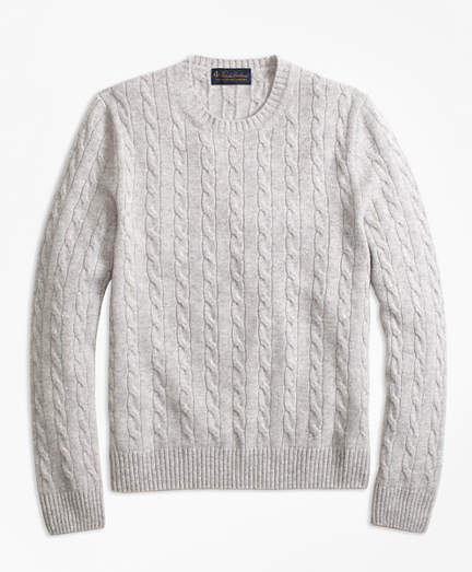 8af74c20729 Brooks Brothers Cable-Knit Crewneck Cashmere Sweater | Products ...