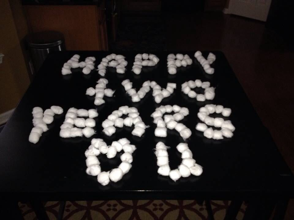 Nd anniversary is cotton so i left a message with cotton balls