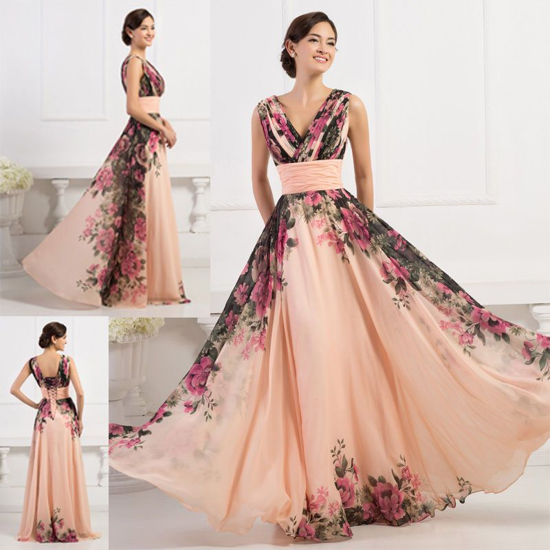 ELEGANT Long Bridesmaid Evening Prom Formal Ball Gown Party MAXI ...