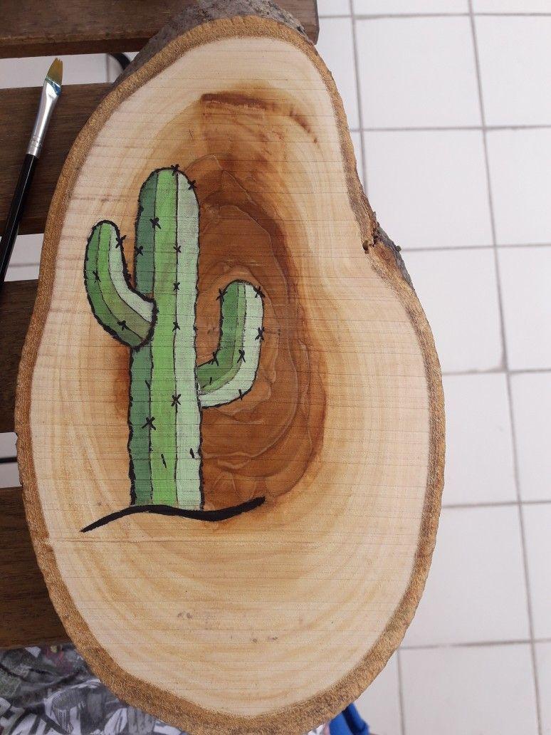 Kutuk Boyama Cactus Tahta Sanat Ahsap Isleme