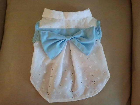 pet clothes puppy dog apparel white & blue bow by Mypuppycloset, $21.00