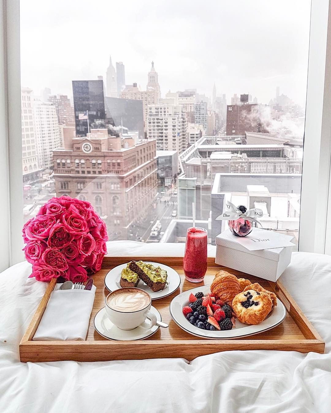 """53.5k Likes, 758 Comments - Leonie Hanne (@ohhcouture) on Instagram: """"Late breakfast in bed while it's snowing outside... Find a new post about my trip to NY with @dior…"""""""