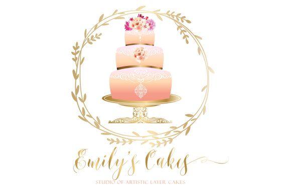 Digital Custom Logo Design Cake Bakery Logo Pink Gold Cake Etsy Cake Logo Custom Logo Design Logo Design
