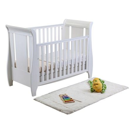 Tutti Bambini Katie Sleigh Mini Cot Bed & Drawer - White + Foam Mattress