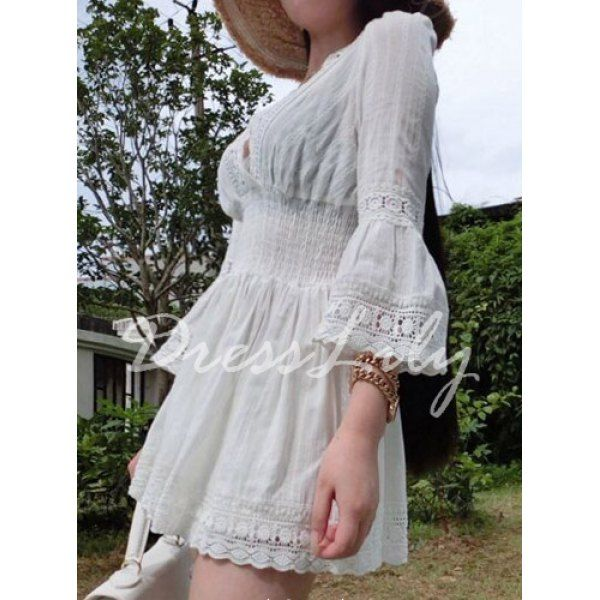 Stylish Plunging Neck 3/4 Sleeve Spliced Embroidered Hollow Out Women's Blouse