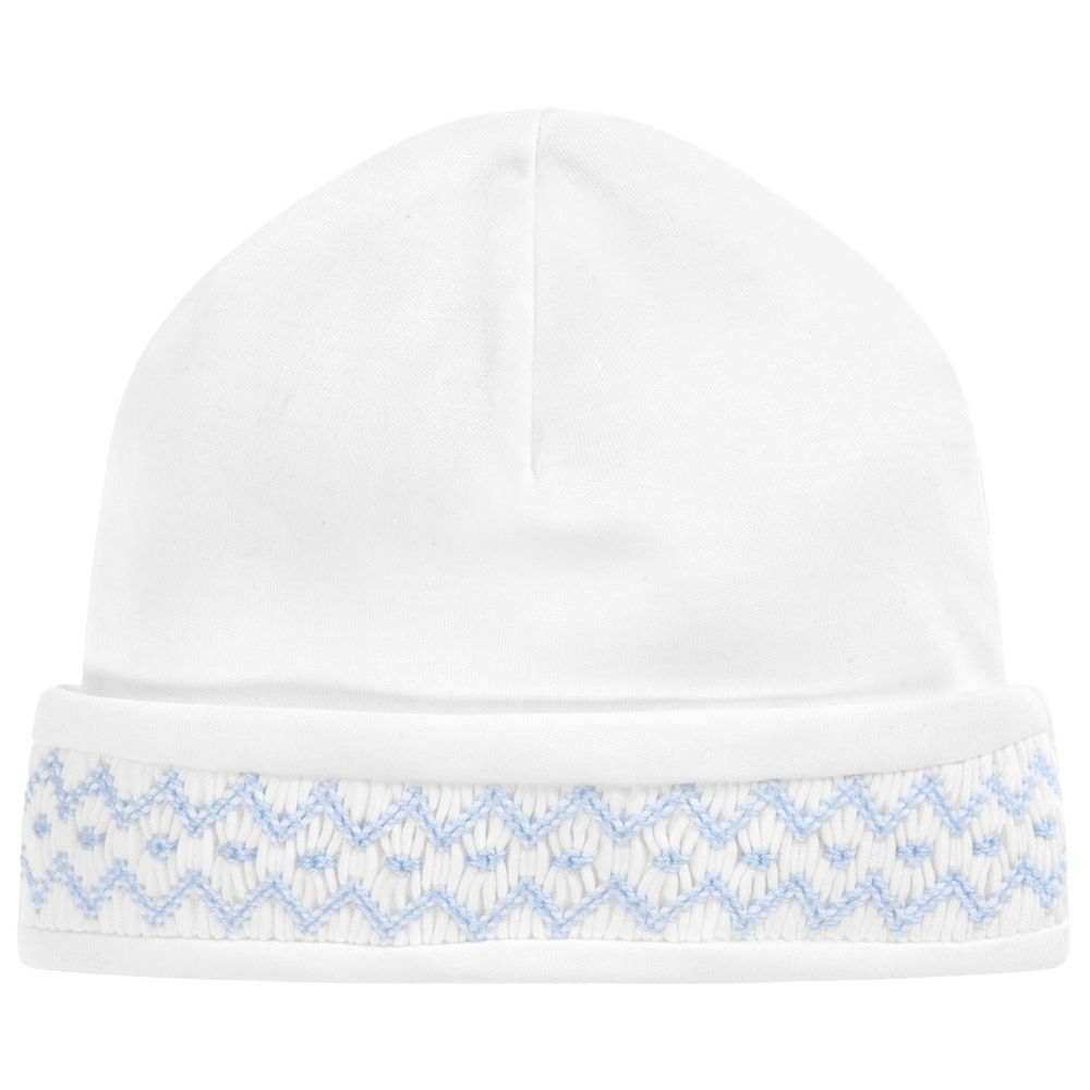 2e143c133 Comfortable white hat for baby boys by Kissy Kissy. Made in a double ...