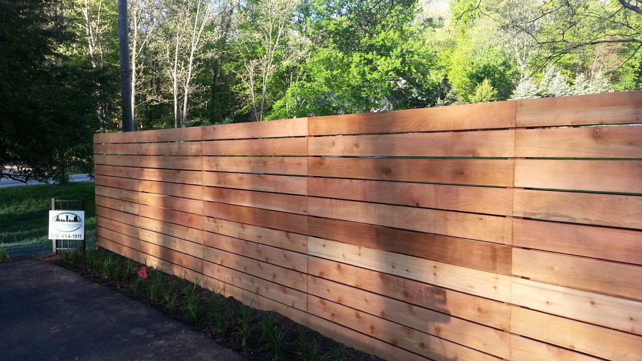 Custom Horizontal Cedar Wood Fence   Good Neighbor (looks The Same From  Both Sides)