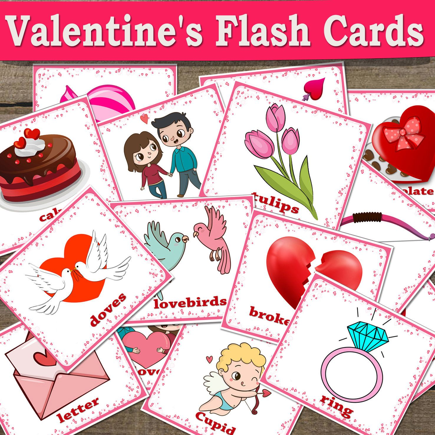 High Quality Printable Valentine S Day Flash Cards In