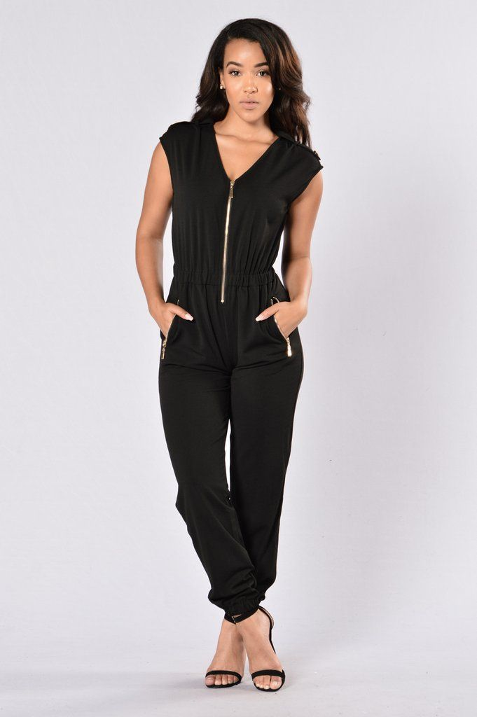 3bbce478c35 Available in Black and Olive - Front Zipper Closure - Elastic Waistband -  Side Zipper Pockets - 95% Polyester