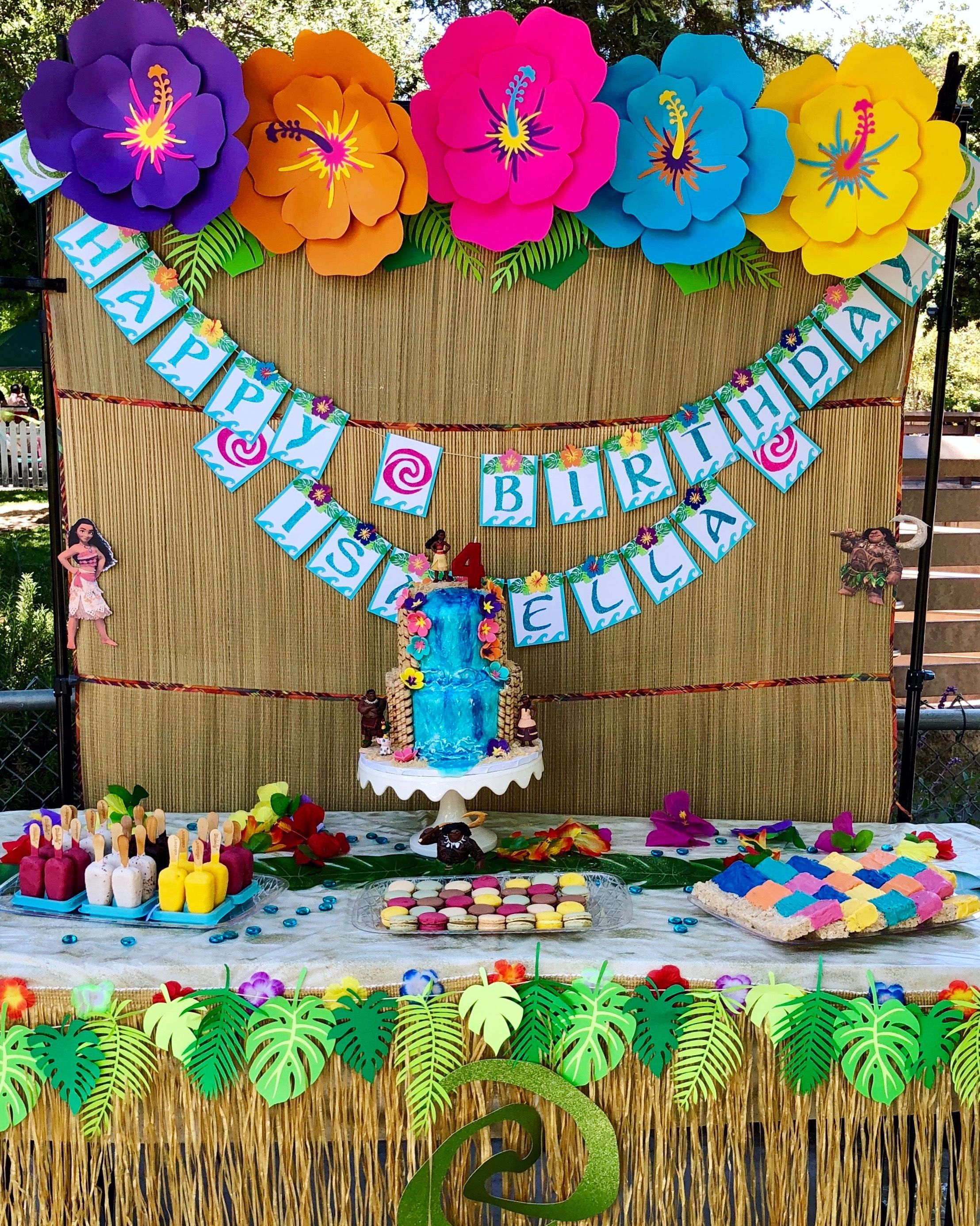 Moana Birthday Paper Flowers Tropical Party Moana Birthday