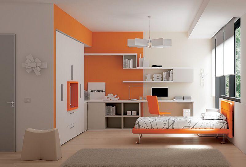 Guardaroba cameretta ~ Arredamento cameretta letto soul imbottito in ecopelle arancio