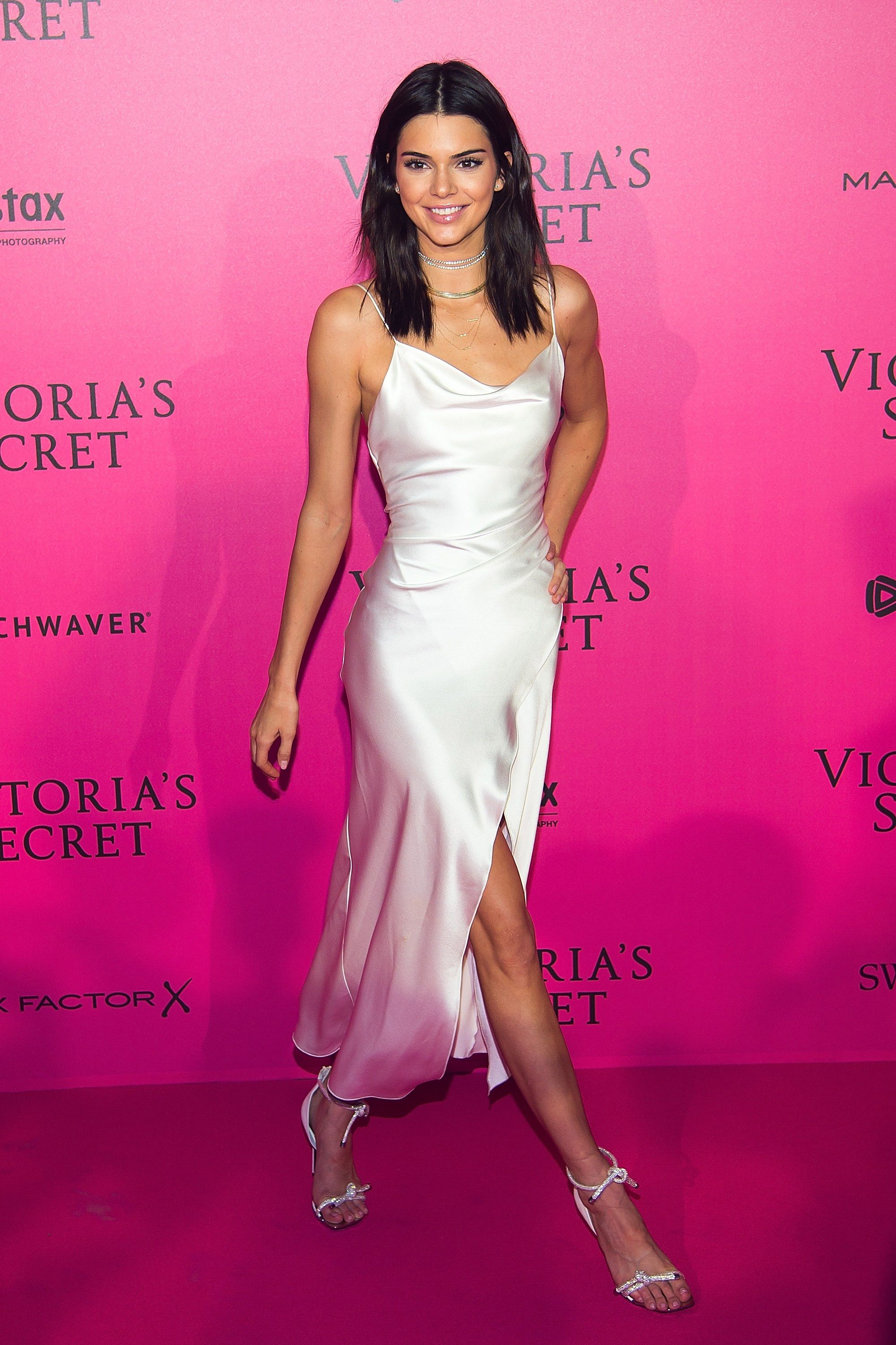 Kendall Jenner In A White Slip Dress By Camilla And Marc At The 2016 Victoria S Secret Fashion Show Afterparty