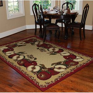 Orian Apple Border Area Rug Sand Apple Kitchen Decor Kitchen