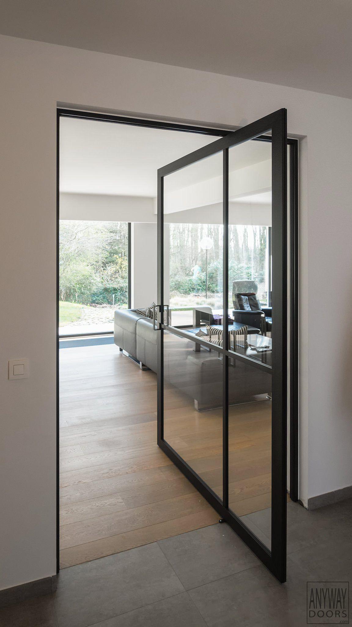 Porte Vitrée Sur Pivot Style Atelier Portes Pivotantes Portes - Porte vitrée sur pivot