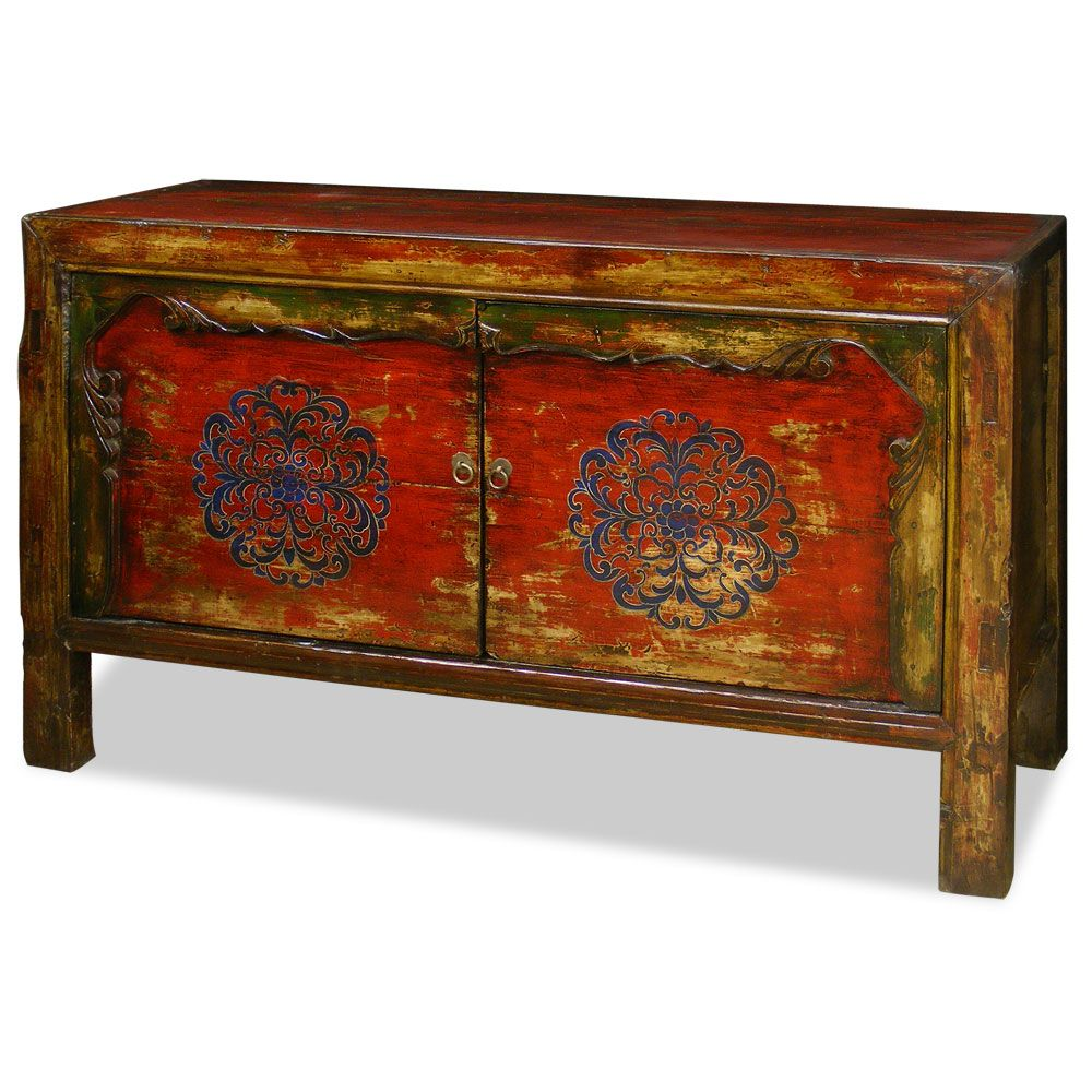 Hand Painted Tibetan Cabinet Media Cabinet Living Rooms