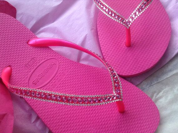 b731b820f49bdd Sophisticate Havaianas Slim Hot Pink Fuchsia Rose Rhinestone Swarovski  Bling Crystal Flip Flops Shoes