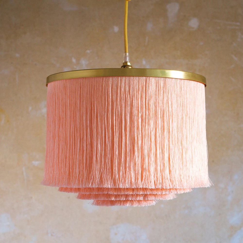 Pale Pink Round Fabric Lampshade Round lamp shade for Pendant Lights, Hanging Lights & Chandelier 100% Handmade