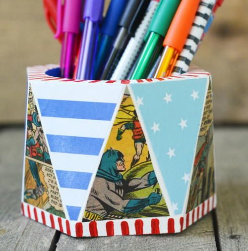 Comic lovers diy pencil holder pencil holder homemade christmas comic lovers diy pencil holder solutioingenieria Choice Image