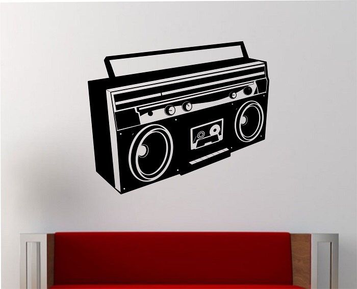 Boombox Wall Decal Vinyl Sticker Art Decor Bedroom Design Etsy Sticker Art Vinyl Wall Decals Wall Decals