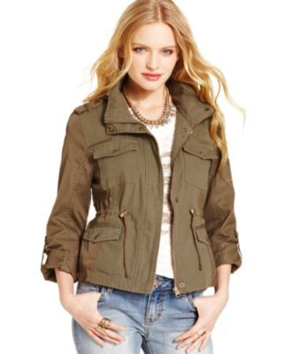 American Rag Juniors' Mixed-Media Military Parka, Created for ...