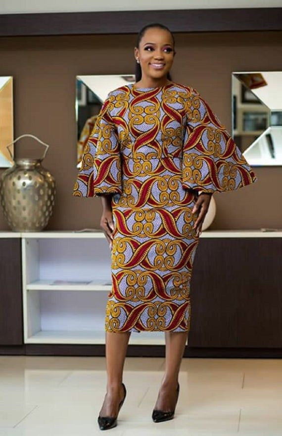 African Print Senegal Midi Dress: African Print Midi Dress With Bell Sleeves/Ankara/African