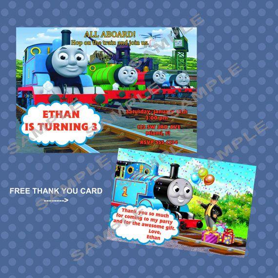 Thomas The Train Printable Birthday Party Invitation plus free thank