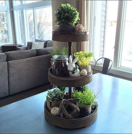 Easy Home Decorating With Trays: Farmhouse Wood & Tin 3-Tier Tray