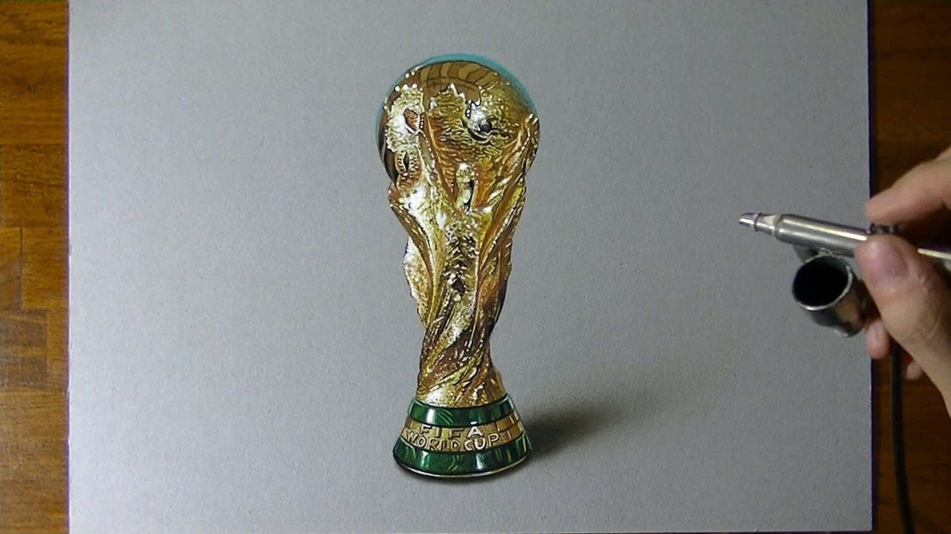 Drawing Time Lapse Fifa World Cup Trophy Germany Won It Hyperrealistic Art Hyperrealistic Art World Cup Trophy Drawings