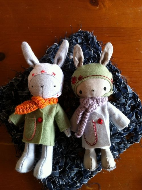 Thistledown rabbits, pattern designed by May Blossom, featured on The Kids are Crazy blog love love love these little guys
