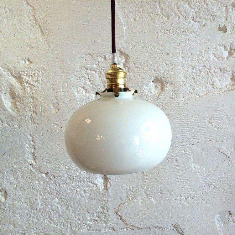 Lustre luminaire lampe abat jour en verre opaline blanche for Lampe suspension blanche