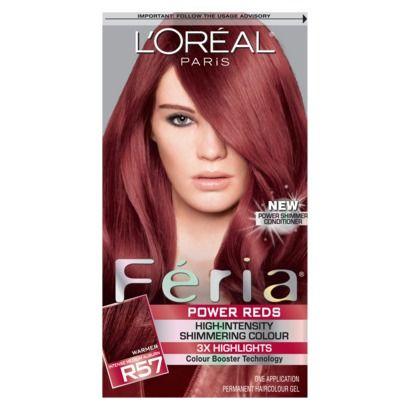 L Oreal Paris Feria High Intensity Shimmering Color Power Red R57 Intense M Auburn 1 Kit In 2021 Feria Hair Color Edgy Hair Color Permanent Hair Color