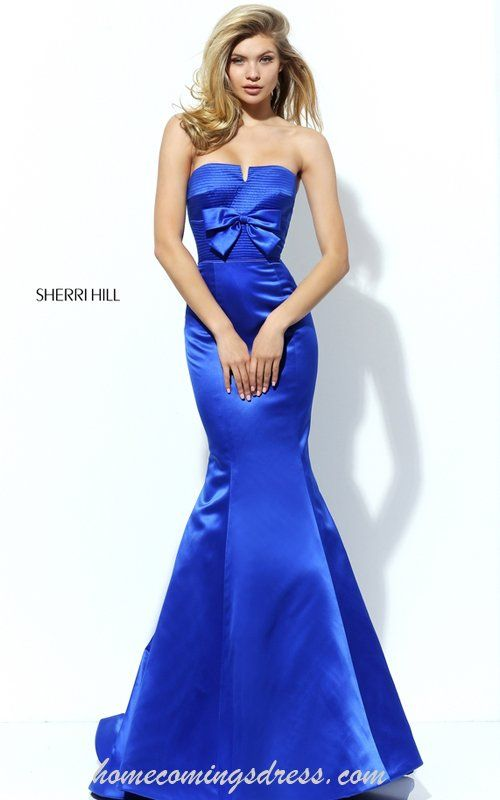 Luxurious Strapless Low Back Mermaid Gown Royal Sherri Hill Style 50543