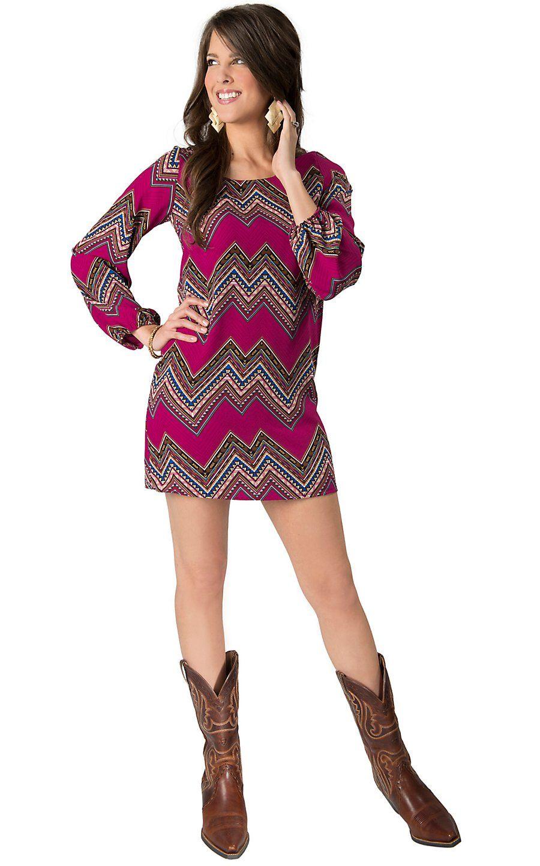Karlie womenus magenta chevron print long sleeve dress cavenderus