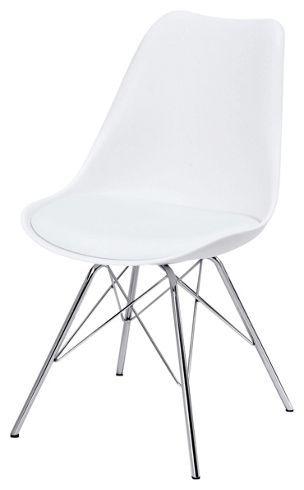 Stuhl aus Metall und Kunststoff in der Farbe Weiß. B/H/T: ca. 48/84/54cm.
