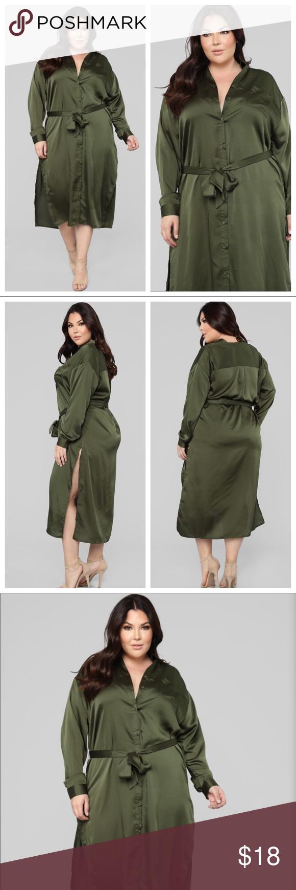 c7561e80 Fashion Nova Curve Satin Shirt Dress NWT / Never Worn True To Size 3X = 20